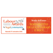 Legalcommunity Labour Awards 2016 - Toffoletto De Luca Tamajo e Soci: Law Firm of the Year